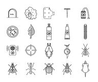 Icônes de lutte contre les insectes de parasite et réglées Illustration du vecteur ENV 10 Images libres de droits