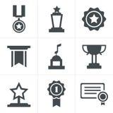 Icônes de médailles Photos stock