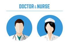 Icônes de médecin et d'infirmière Photographie stock libre de droits