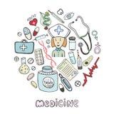 Icônes de médecine de croquis d'aspiration de main réglées Collection médicale et de soins de santé Image libre de droits