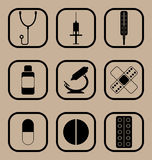 Icônes de médecine réglées Image stock