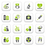 Icônes de médecine. Série grise verte. Photographie stock