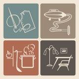 Icônes de ménage Photographie stock