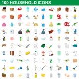 100 icônes de ménage réglées, style de bande dessinée Image libre de droits
