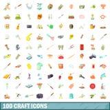 100 icônes de métier réglées, style de bande dessinée illustration stock