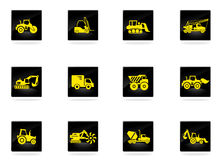 Icônes de machines de transport et de construction Photos libres de droits