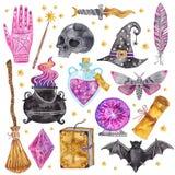 Icônes de magie d'aquarelle Tiré par la main, griffonnage, ensemble de magicien de croquis sorcellerie illustration stock