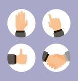 Icônes de mains réglées, vecteur plat de conception Photographie stock