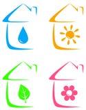 Icônes de maison d'eco, de chauffage et d'approvisionnement en eau Photo libre de droits