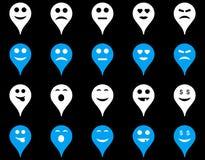 Icônes de marqueur de carte d'émotion illustration libre de droits