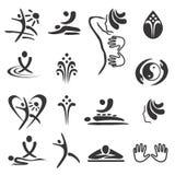 Icônes de massage de station thermale Images libres de droits
