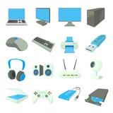 Icônes de matériel informatique réglées, style de bande dessinée Images stock