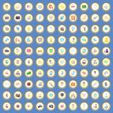 100 icônes de media ont placé le vecteur de bande dessinée Photos libres de droits
