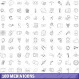 100 icônes de media réglées, style d'ensemble Photo libre de droits