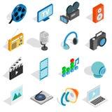 Icônes de media réglées, style 3d isométrique illustration libre de droits
