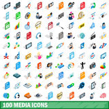 100 icônes de media réglées, style 3d isométrique Photographie stock