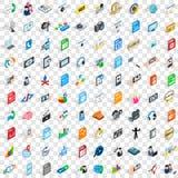 100 icônes de media réglées, style 3d isométrique Photos libres de droits