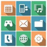 Icônes de menu de téléphone avec de longues ombres Images libres de droits