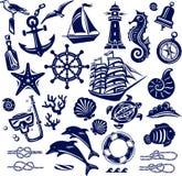 Icônes de mer d'été Photo stock