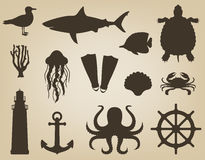 Icônes de mer et ensemble de symboles Animaux de mer Éléments nautiques de conception Vecteur Image stock