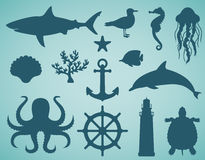 Icônes de mer et ensemble de symboles Animaux de mer Éléments nautiques de conception Vecteur Images stock