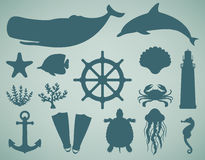 Icônes de mer et ensemble de symboles Animaux de mer Éléments nautiques de conception Vecteur Images libres de droits