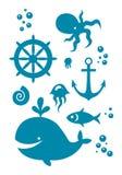 Icônes de mer réglées Photographie stock