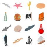 Icônes de mer réglées, style 3d isométrique Photographie stock libre de droits
