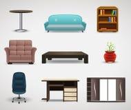 Icônes de meubles, ensemble d'éléments intérieurs Photos stock