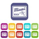 Icônes de Miami Beach réglées Photo libre de droits