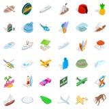 Icônes de Miami Beach réglées, style isométrique Photos libres de droits