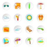 Icônes de Miami réglées, style de bande dessinée Images stock