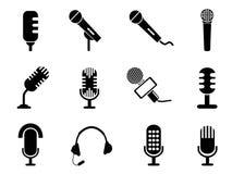 Icônes de microphone réglées Photographie stock