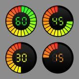 Icônes de minuterie de Digital réglées Photos stock