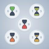 Icônes de minuterie de sablier avec la gradation de couleur et Image stock