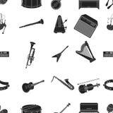 Icônes de modèle d'instruments de musique dans le style noir La grande collection d'instruments de musique dirigent l'illustratio Image libre de droits