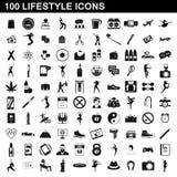 100 icônes de mode de vie réglées, style simple illustration stock