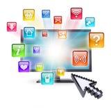 Icônes de moniteur et d'application Photo stock