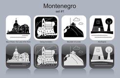 Icônes de Monténégro illustration de vecteur