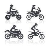 Icônes de moto réglées Image stock