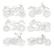 Icônes de moto réglées Photographie stock