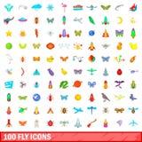 100 icônes de mouche réglées, style de bande dessinée Photographie stock