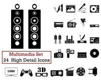 24 icônes de multimédia Image libre de droits