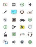 Icônes de multimédia réglées Image stock