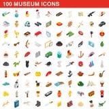 100 icônes de musée réglées, style 3d isométrique illustration stock