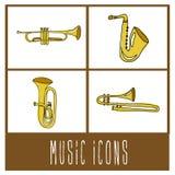 Icônes de musique Photo libre de droits