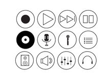 Icônes de musique avec le fond blanc Photographie stock libre de droits