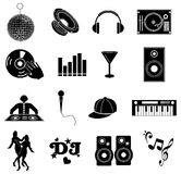 Icônes de musique du DJ réglées Image libre de droits