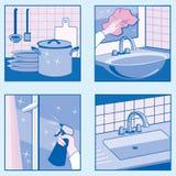 Icônes de nettoyage de Chambre Images stock
