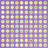 100 icônes de nettoyage de service réglées dans le style de bande dessinée illustration libre de droits